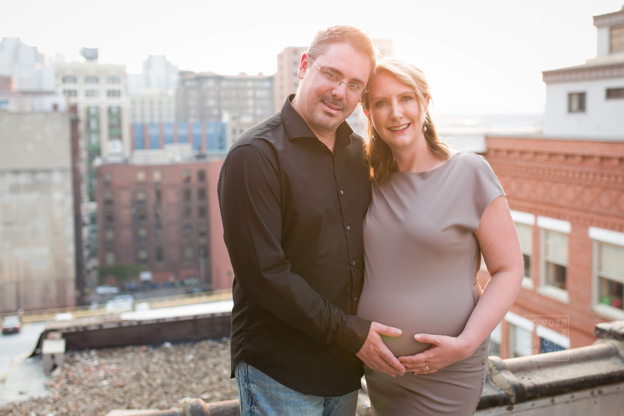 Pittsburgh Maternity Photographer | Rooftop Session | Downtown Pittsburgh